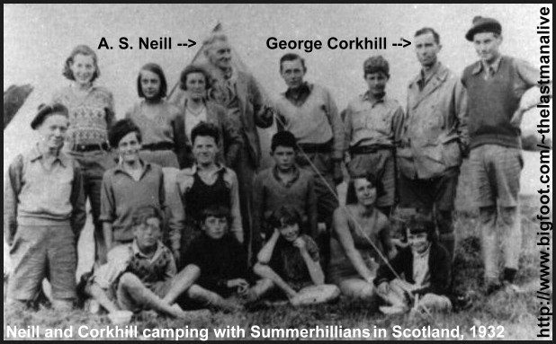 A. S. Neill, George Corkhill, and summerhill pupils on a camping holiday in Scotland, 1932