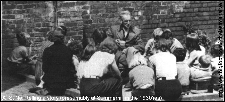 Neill telling a story (presumably at Summerhill in the 1930'ies)